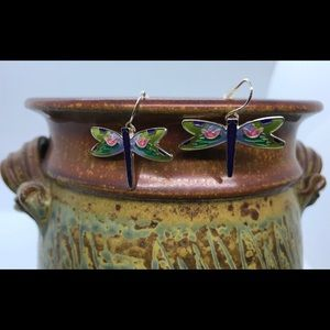 Zarah Zarlite Enameled Dragonfly Earrings